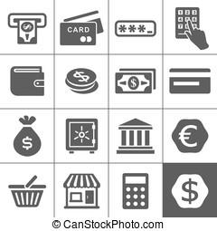 financal, ícones, jogo, -, simplus, série