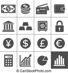 Financal icons set - Simplus series - Finance Icons. Each...