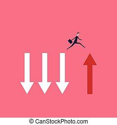 finance., ミニマリスト, ベクトル, ビジネス, 成功, 上に, stile., 跳躍, 挑戦, シンボル, 勇気, 深い割れ目, ビジネスマン, concept., 危険