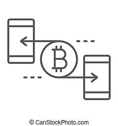 finance, 10., linéaire, signe, argent, bitcoin, eps, pair, vecteur, mince, modèle, graphiques, icône, ligne, fond blanc
