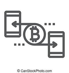 finance, 10., linéaire, signe, argent, bitcoin, eps, pair, vecteur, modèle, graphiques, icône, ligne, fond blanc
