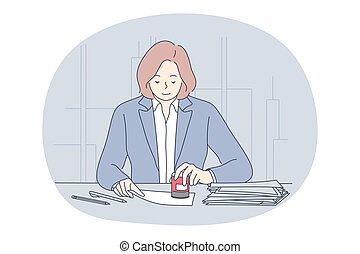 Finance, accounting, office worker concept. Young woman cartoon character sitting and stamping official documents in office vector illustration