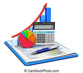 Business finance, tax, accounting, statistics and analytic research concept: office electronic calculator, bar graph and pie diagram and pen on financial reports in clipboard with colorful data isolated on white background