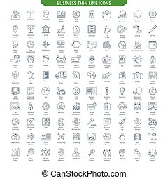 Finance And Business big set - One Hundred Thin Line Icons...