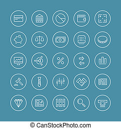 Finance and business flat line icons - Flat thin line icons...