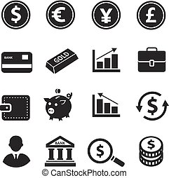 Finance and business icons set with piggy bank credit cards bag of money and dollar sign