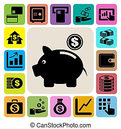 Finance and money icon set.