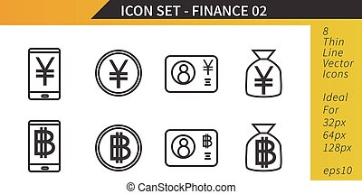 Finance and Money, Yen and Bitcoin, Thin Line Vector Icon Set