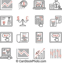 Finance and stock line icons, investment strategy linear signs vector