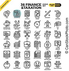 Finance and taxation, business concept, outline icons ...