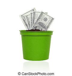 finance, argent, concept., -, économie, nous, business, banque, dollars, croissant, pot