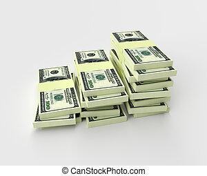 finance, argent, isolé, white., concepts, pile