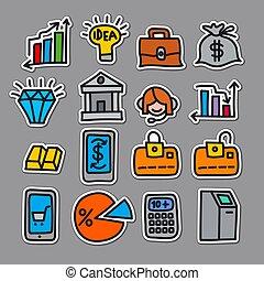 finance, autocollants