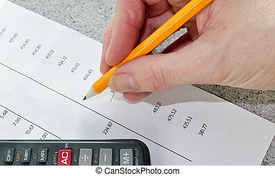 finance bank statement - Bank statement with pencil and...