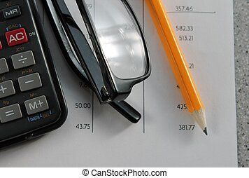 finance bank statement - Bank statement with pencil, glasses...