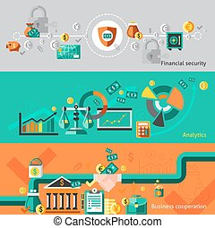 Finance banner set with financial security analytic business...