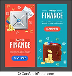 Finance Banner Vecrtical Set. Vector