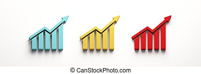 Finance Growth bar in blue, yellow, red colors with blank space