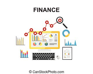 finance., begreb, illustration., firma, economy., tilvækst