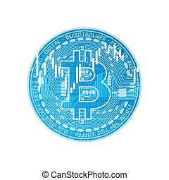 Finance bitcoin background blue