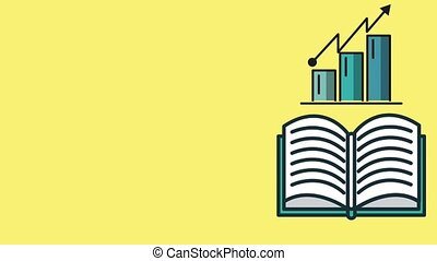Finance book open with statistics HD animation