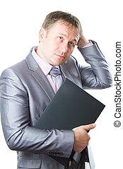finance., .business, affari, elegante, riuscito, serie, laptop, tenere, mantenere, isolato, questo, fondo, completo, portafoglio, bianco, uomo, mio, più