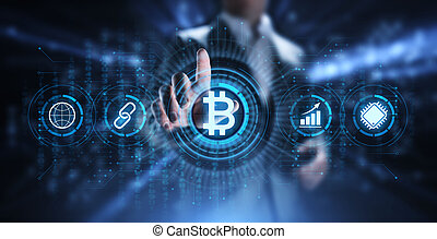 finance, business, argent, concept., bitcoin, cryptocurrency, technologie numérique