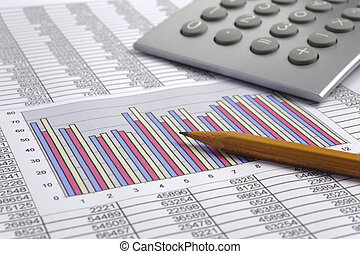finance business calculation with calculator, chart and pencil