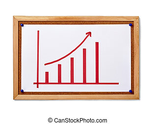 finance business graph on corkboard economy - close up of...