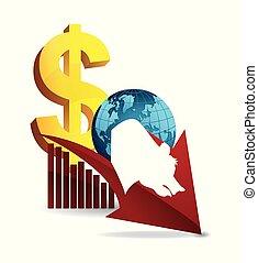 finance, business, mur, ours, rue, mondiale