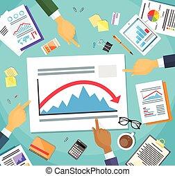 finance, business, point, graphique, exposition, bas, négatif, doigt, flèche, mains, crise, rouges, hommes affaires