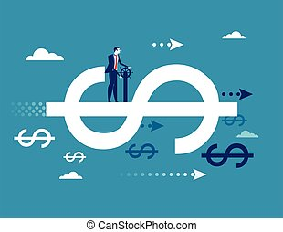 Finance. Businessman driving on dollar sign, Concept business finance success vector illustration. flat ideas design.