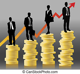 FINANCE - businessteam standing on coins in front of...