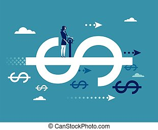 Finance. Businesswoman driving on dollar sign, Concept business finance success vector illustration. flat ideas design.