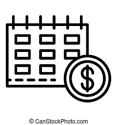 Finance calendar icon, outline style