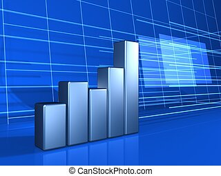 finance chart background - silver financial chart on blue...