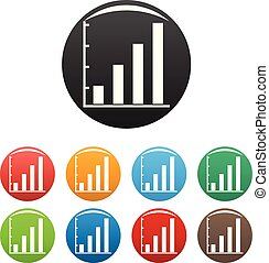 Finance chart icons set collection circle