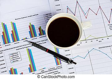 Finance chart with coffee