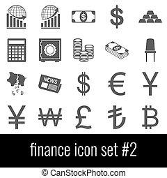 finance., cinzento, jogo, ícones, experiência., 2., branca, ícone
