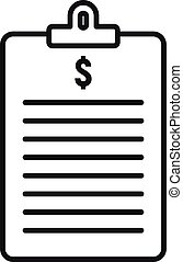 Finance clipboard icon, outline style