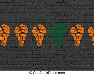 finance, concept:, ampoule, icône, sur, mur, fond