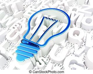 finance, concept:, ampoule, sur, alphabet, fond