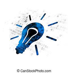 finance, concept:, ampoule, sur, arrière-plan numérique
