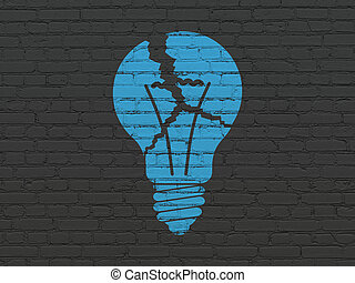 finance, concept:, ampoule, sur, mur, fond