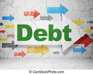Finance concept: arrow with Debt on grunge wall background