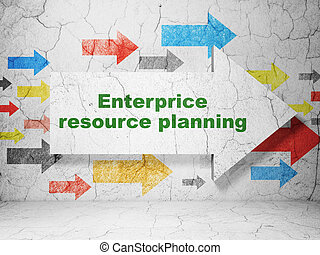 Finance concept: arrow with Enterprice Resource Planning on grunge wall background