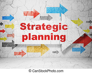 Finance concept: arrow with Strategic Planning on grunge wall background