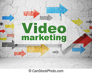 Finance concept: arrow with Video Marketing on grunge wall background