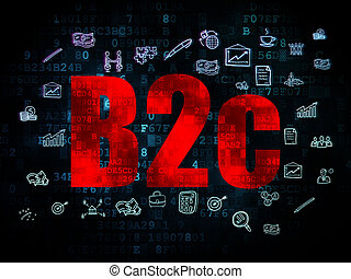 Finance concept: B2c on Digital background