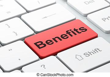 Finance concept: Benefits on computer keyboard background